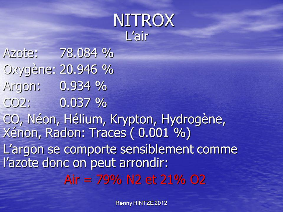NITROX L'air Azote: 78.084 % Oxygène: 20.946 % Argon: 0.934 %
