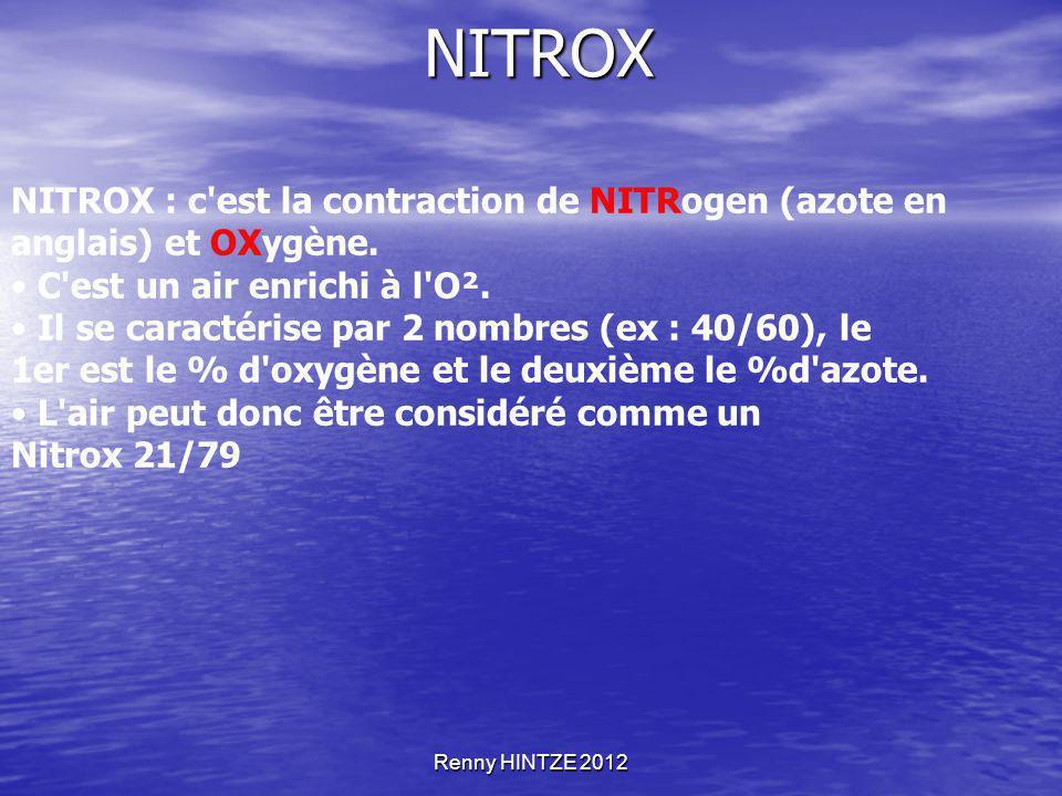 NITROX NITROX : c est la contraction de NITRogen (azote en anglais) et OXygène. • C est un air enrichi à l O².