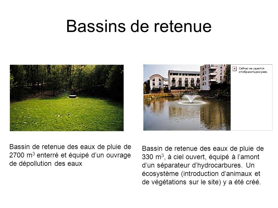 Bassins de retenue Bassin de retenue des eaux de pluie de 2700 m3 enterré et équipé d'un ouvrage de dépollution des eaux.