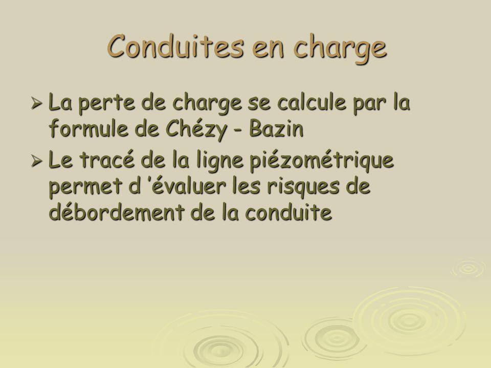Conduites en charge La perte de charge se calcule par la formule de Chézy - Bazin.