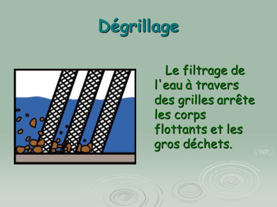 Dégrillage Le filtrage de l eau à travers des grilles arrête les corps flottants et les gros déchets.