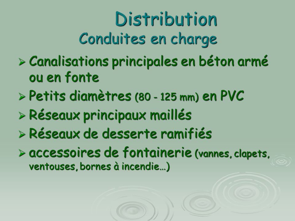 Distribution Conduites en charge