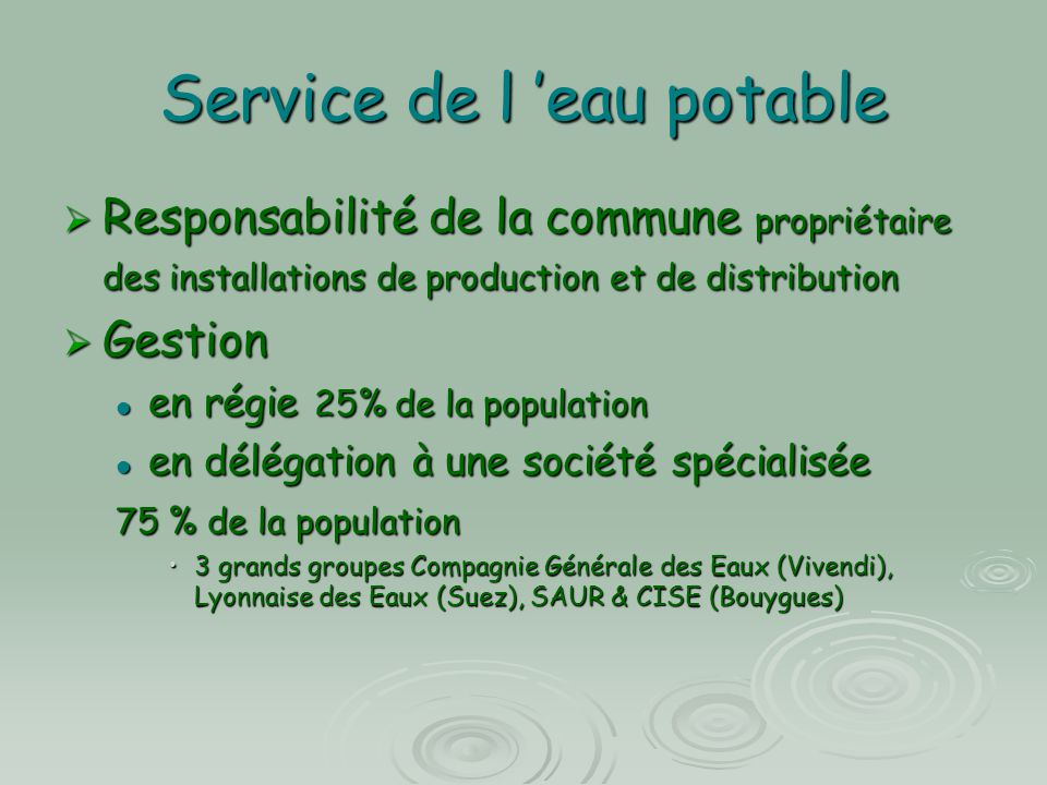 Service de l 'eau potable