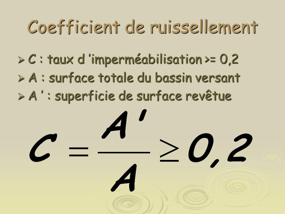 Coefficient de ruissellement