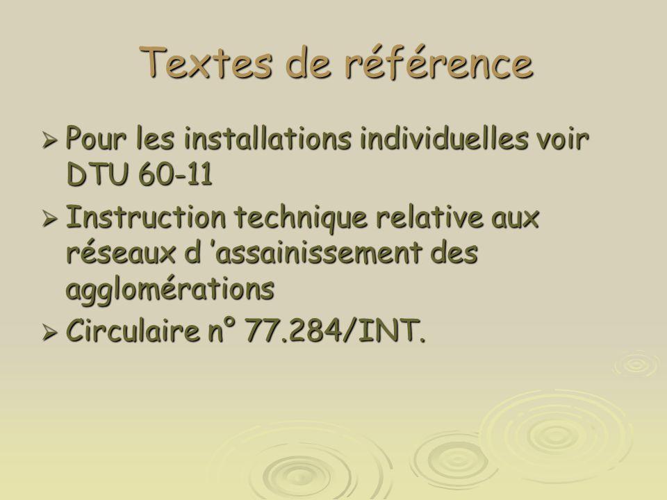 Textes de référence Pour les installations individuelles voir DTU 60-11.