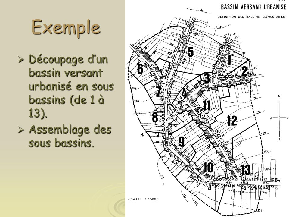 Exemple Découpage d'un bassin versant urbanisé en sous bassins (de 1 à 13).