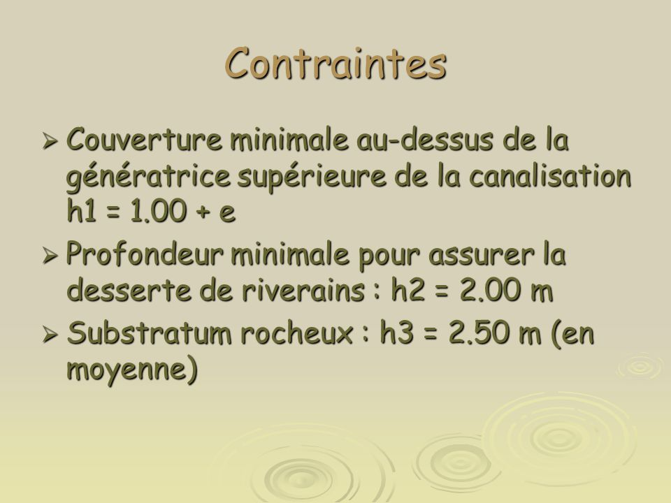 Contraintes Couverture minimale au-dessus de la génératrice supérieure de la canalisation h1 = 1.00 + e.