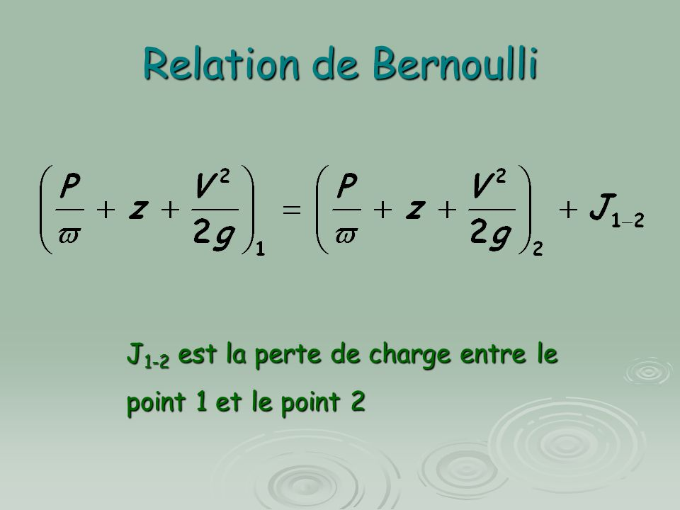Relation de Bernoulli J1-2 est la perte de charge entre le point 1 et le point 2