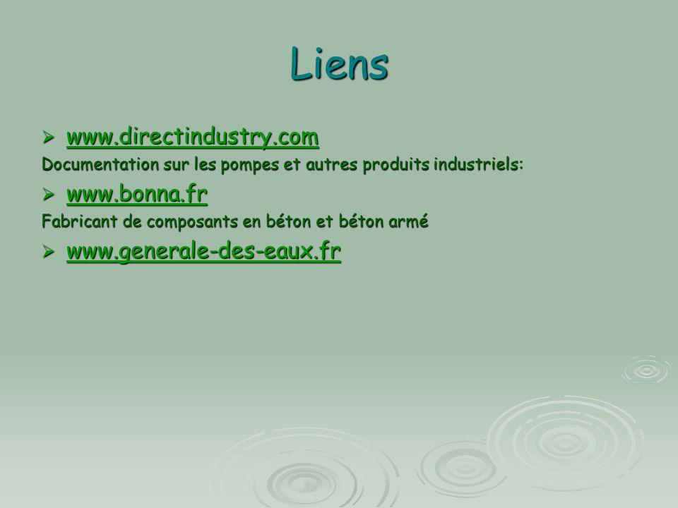 Liens www.directindustry.com www.bonna.fr www.generale-des-eaux.fr