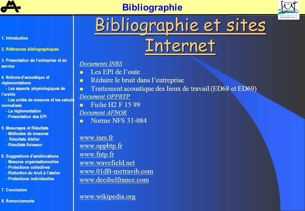 Bibliographie et sites Internet