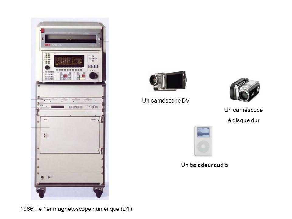Un caméscope DV Un caméscope. à disque dur. Un baladeur audio.