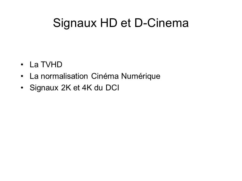 Signaux HD et D-Cinema La TVHD La normalisation Cinéma Numérique