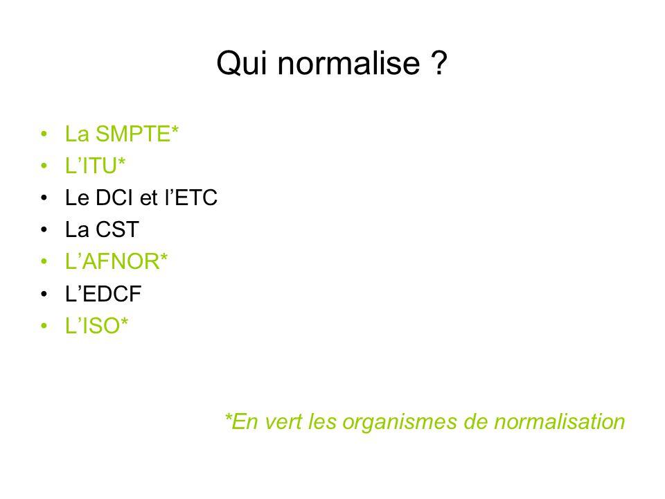 Qui normalise La SMPTE* L'ITU* Le DCI et l'ETC La CST L'AFNOR*