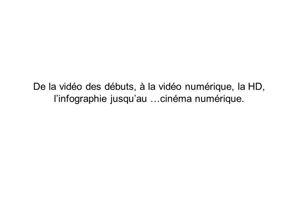 De la vidéo des débuts, à la vidéo numérique, la HD, l'infographie jusqu'au …cinéma numérique.