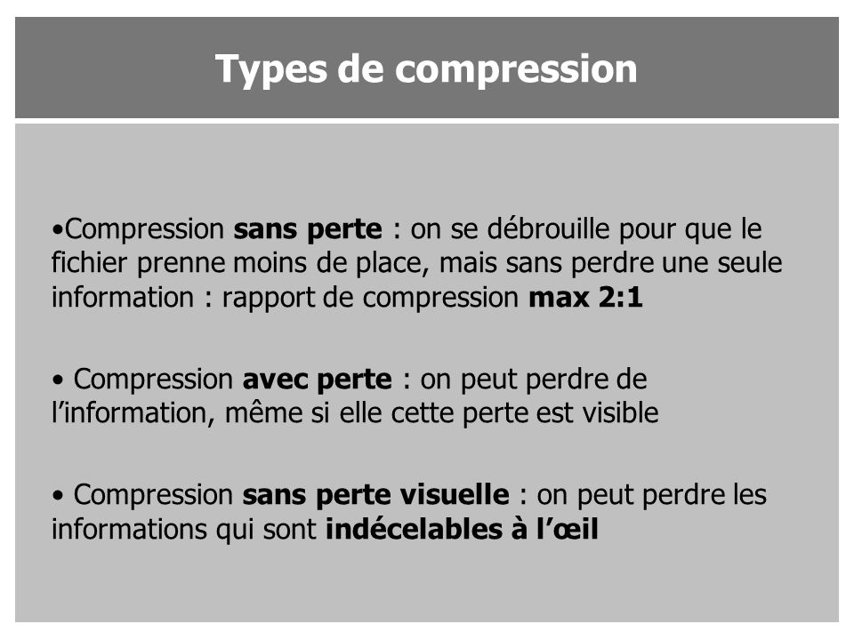 Types de compression