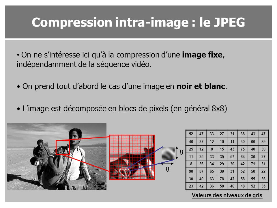 Compression intra-image : le JPEG