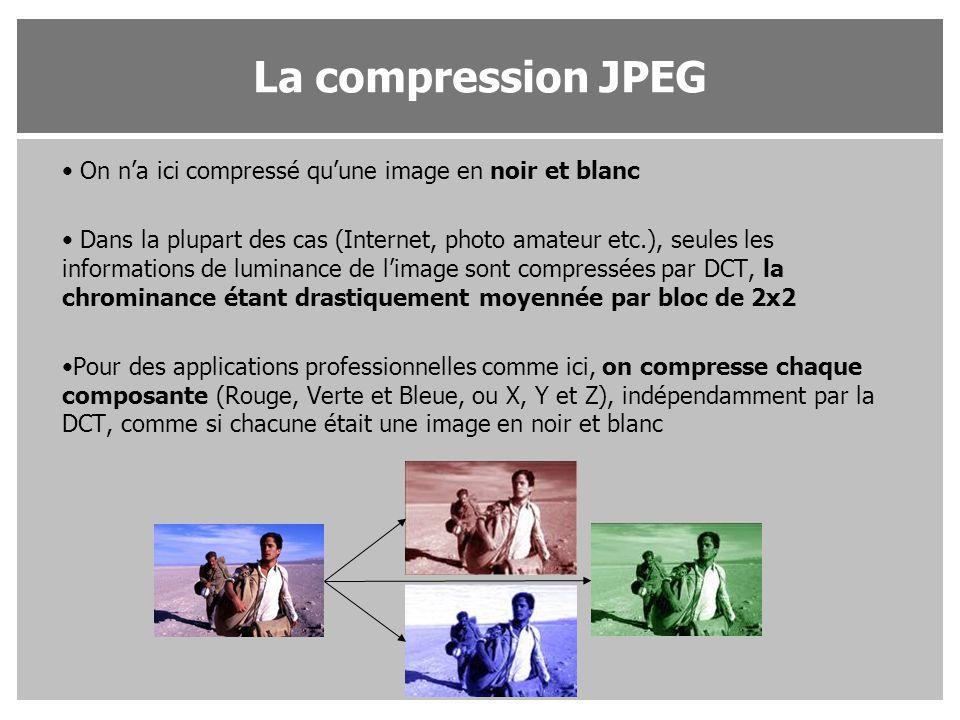 La compression JPEG On n'a ici compressé qu'une image en noir et blanc