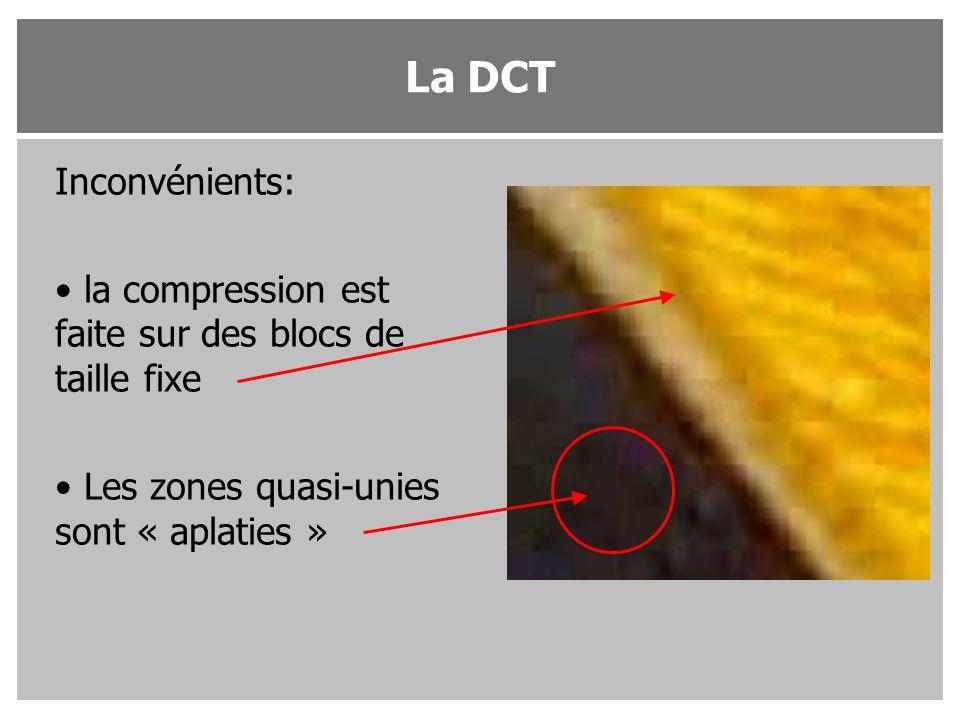 La DCT Inconvénients: la compression est faite sur des blocs de taille fixe.
