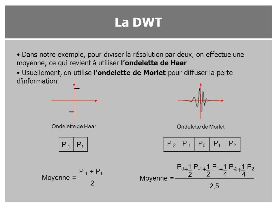 La DWT Dans notre exemple, pour diviser la résolution par deux, on effectue une moyenne, ce qui revient à utiliser l'ondelette de Haar.