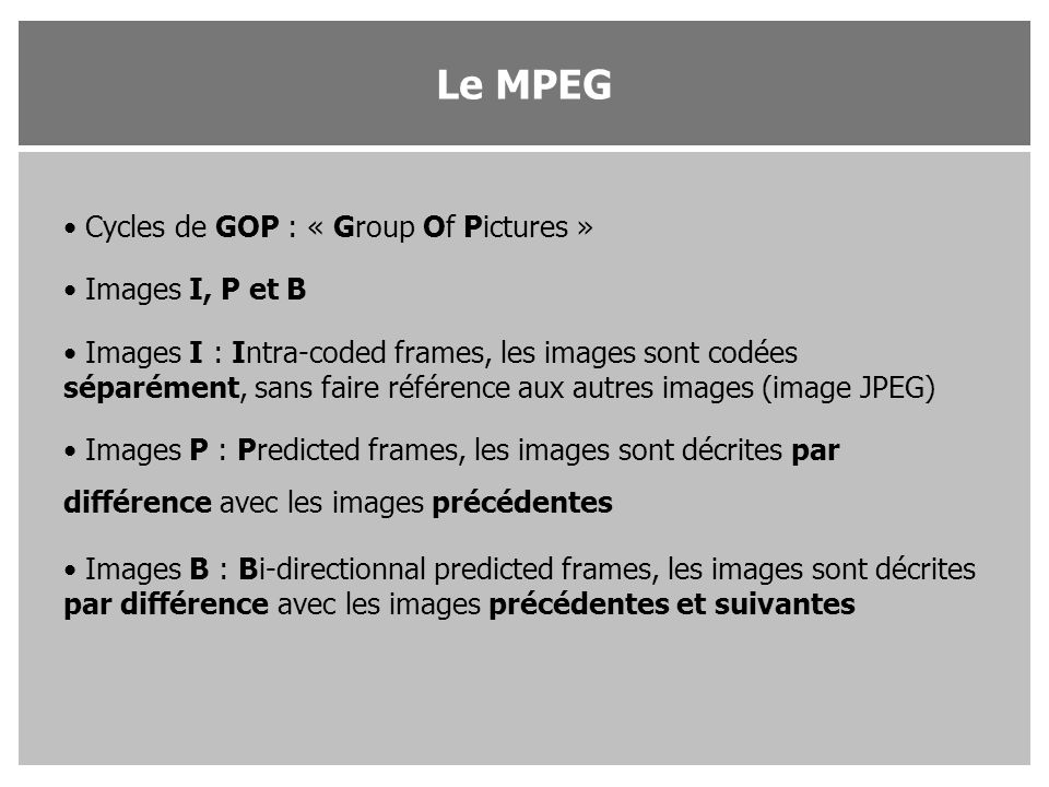 Le MPEG Cycles de GOP : « Group Of Pictures » Images I, P et B