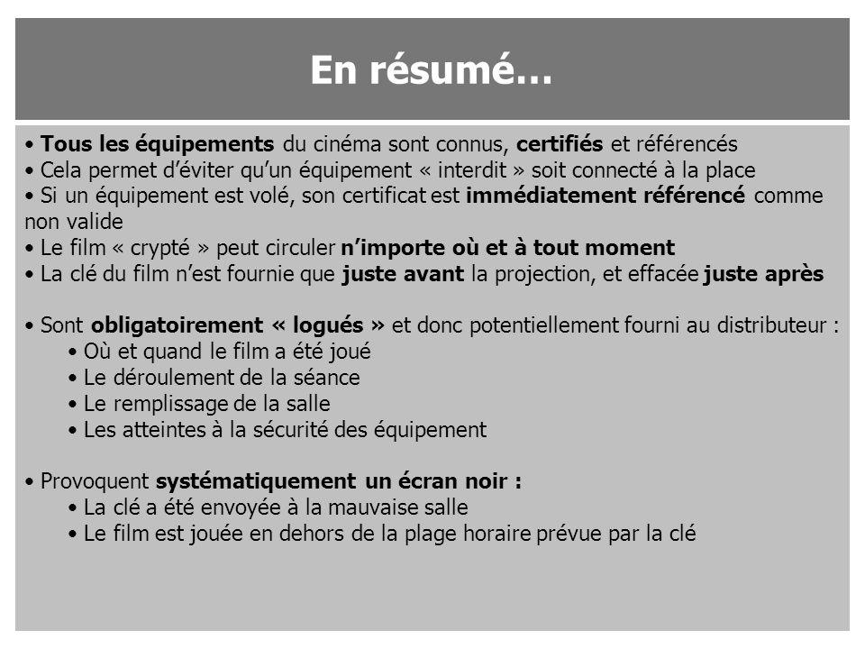 En résumé… Tous les équipements du cinéma sont connus, certifiés et référencés.