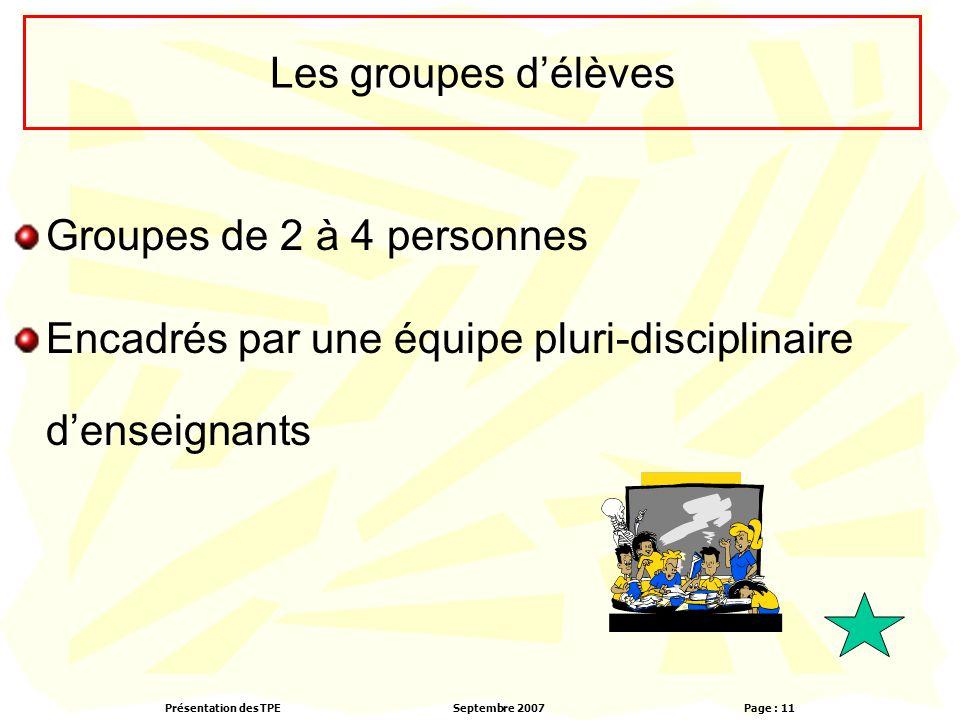 Les groupes d'élèves Groupes de 2 à 4 personnes.