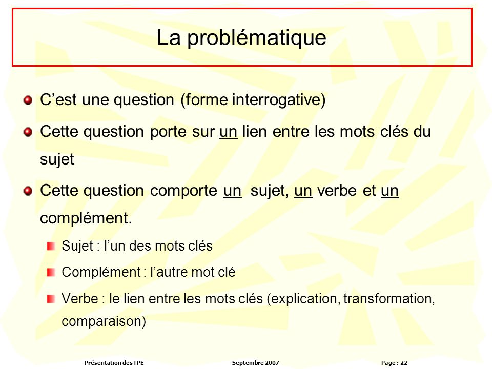 La problématique C'est une question (forme interrogative)