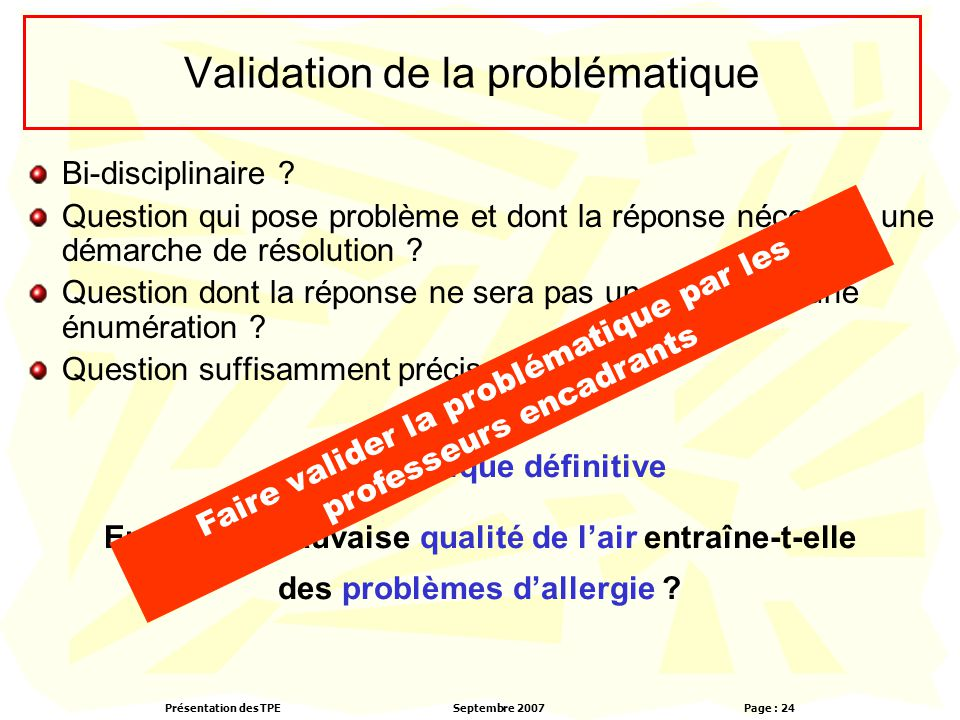Validation de la problématique