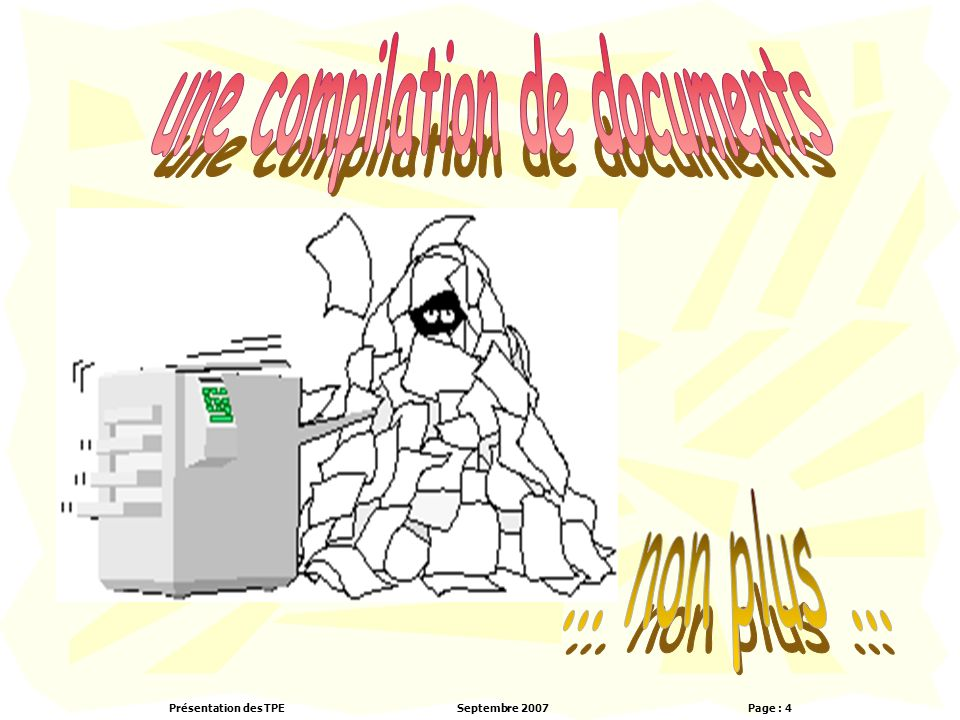 une compilation de documents