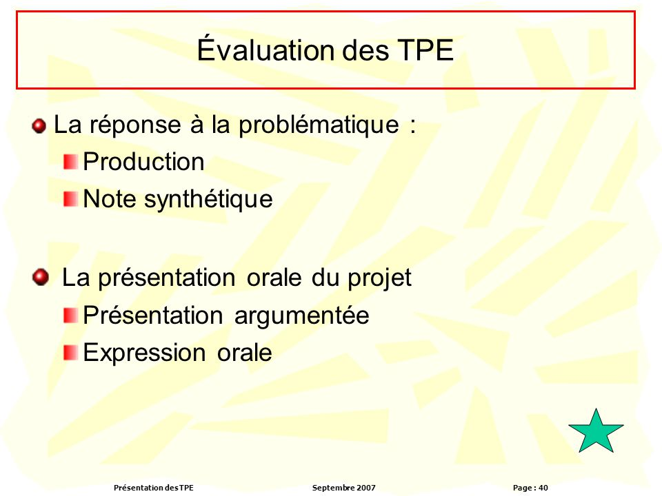 La présentation orale du projet