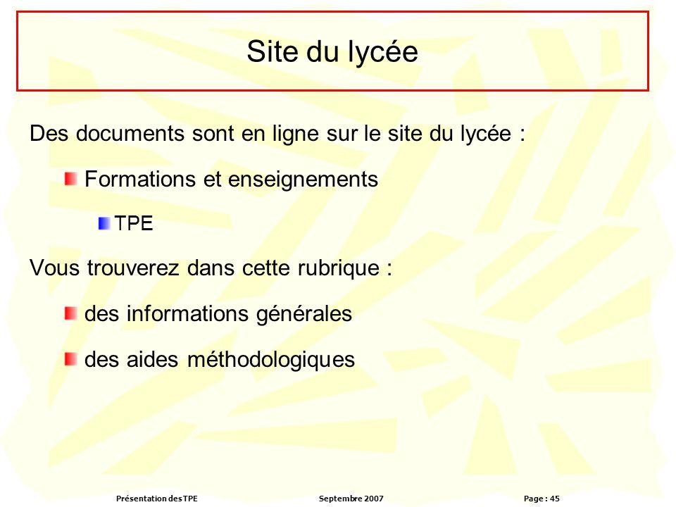 Site du lycée Des documents sont en ligne sur le site du lycée :
