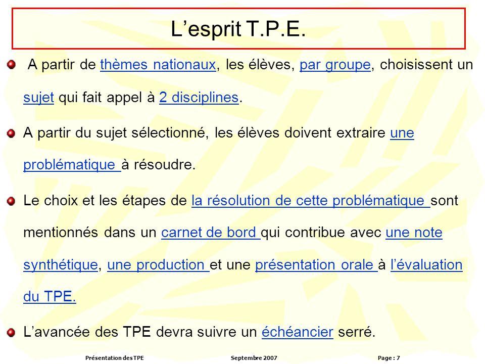 L'esprit T.P.E. A partir de thèmes nationaux, les élèves, par groupe, choisissent un sujet qui fait appel à 2 disciplines.