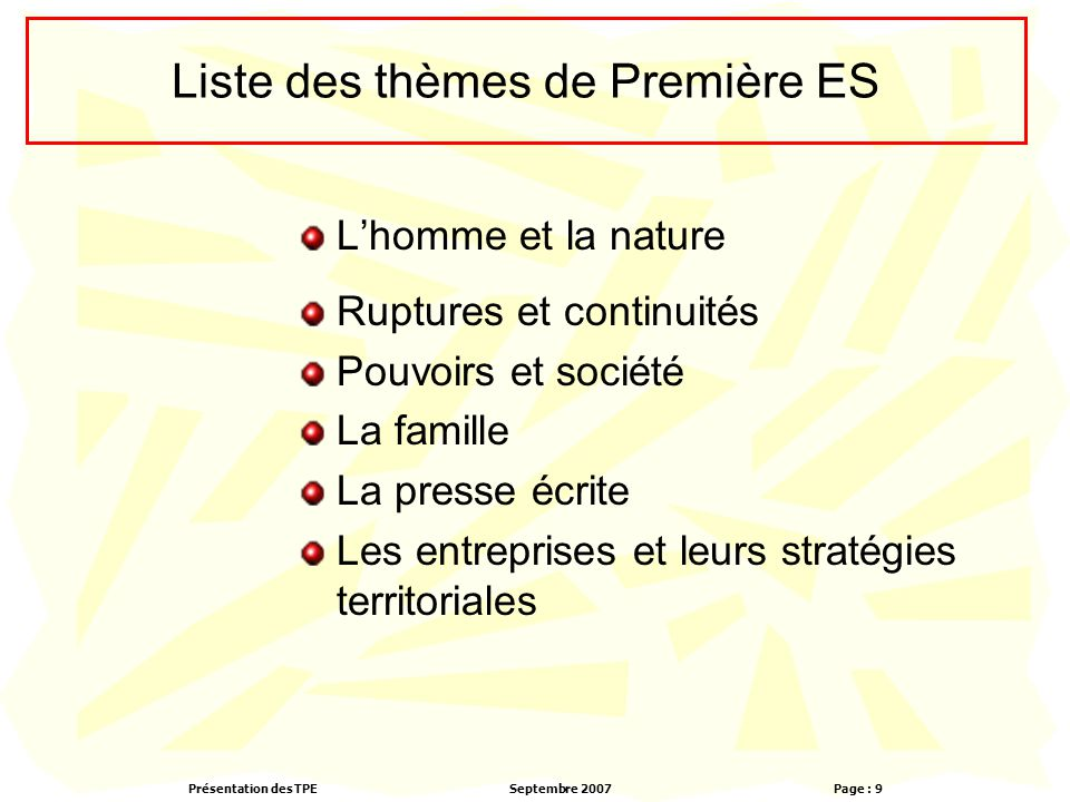 Liste des thèmes de Première ES