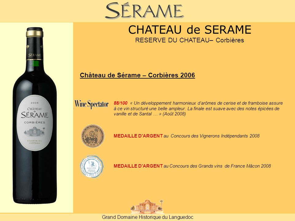 RESERVE DU CHATEAU– Corbières