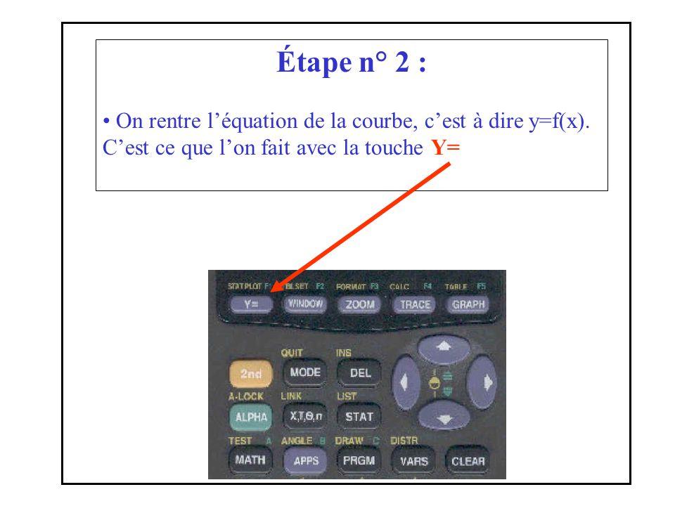 Étape n° 2 : On rentre l'équation de la courbe, c'est à dire y=f(x).