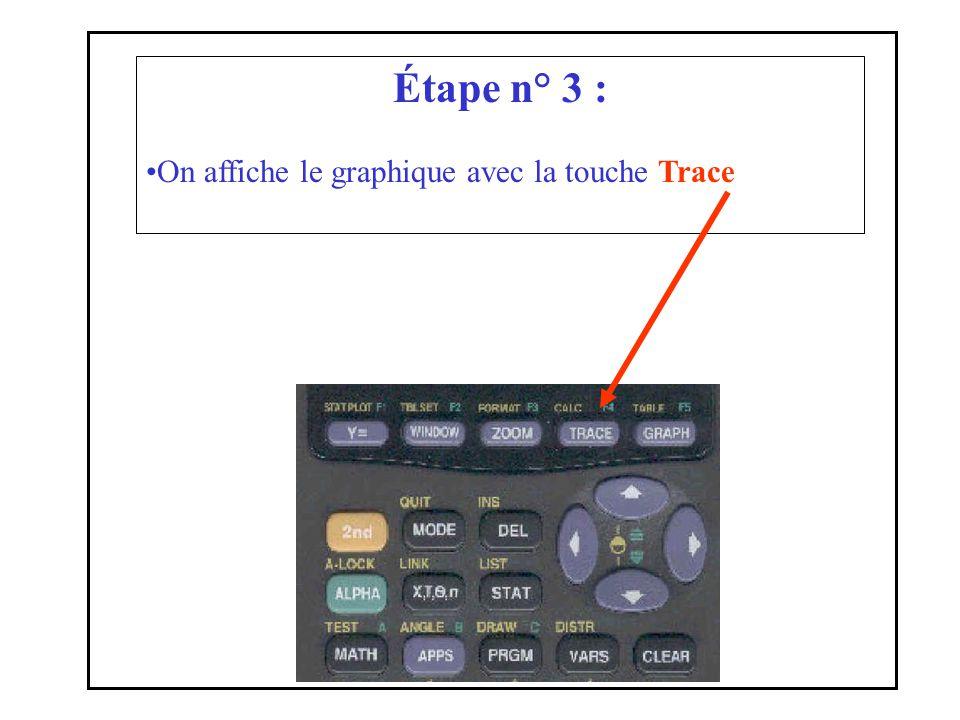 Étape n° 3 : On affiche le graphique avec la touche Trace