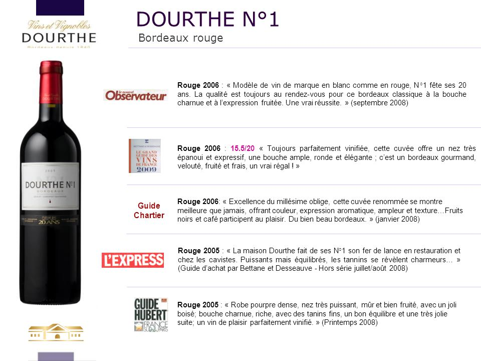 DOURTHE N°1 Bordeaux rouge 131 Guide Chartier