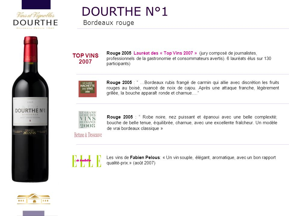 DOURTHE N°1 Bordeaux rouge TOP VINS 2007 132