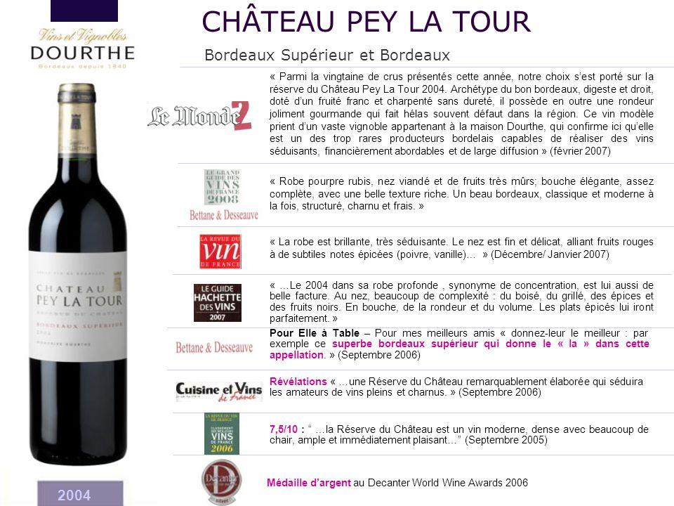 CHÂTEAU PEY LA TOUR Bordeaux Supérieur et Bordeaux 2004