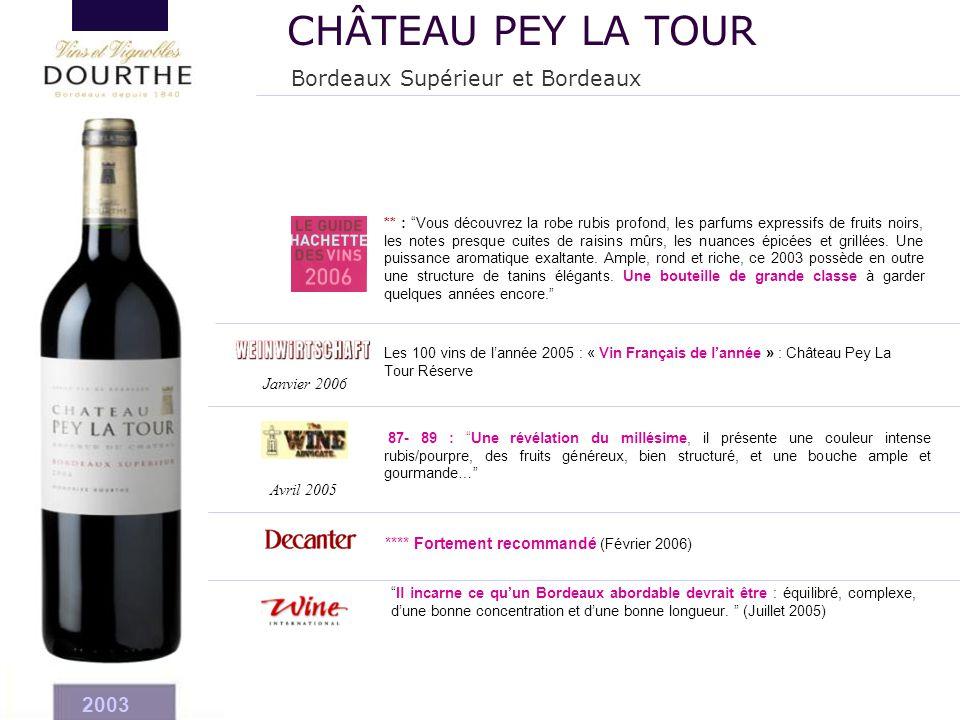 CHÂTEAU PEY LA TOUR Bordeaux Supérieur et Bordeaux 2003