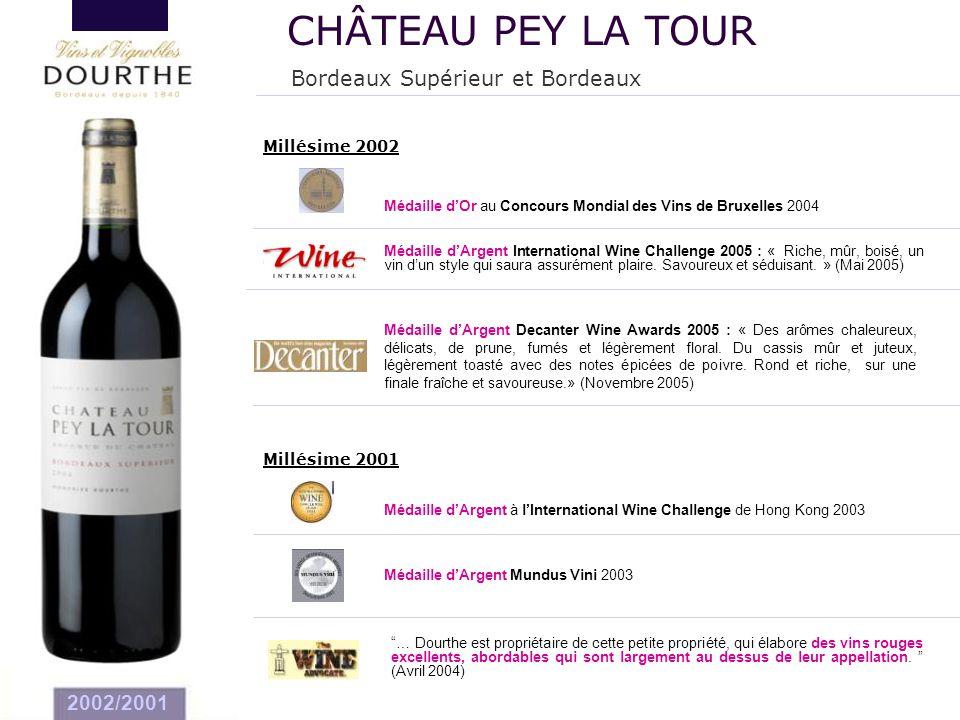 CHÂTEAU PEY LA TOUR Bordeaux Supérieur et Bordeaux 2002/2001