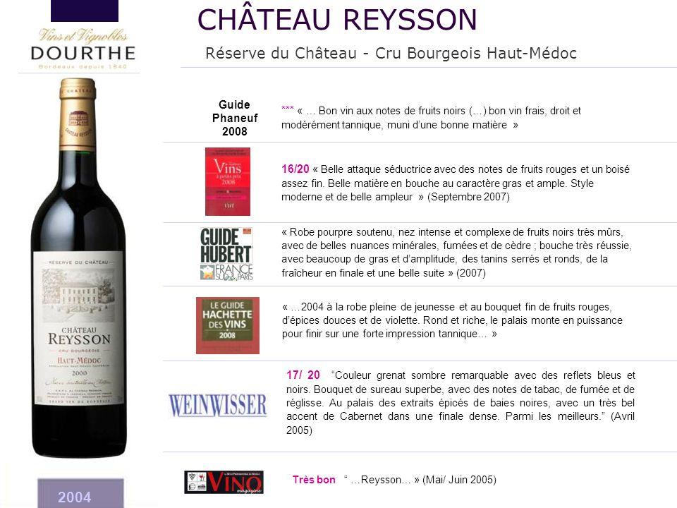 CHÂTEAU REYSSON Réserve du Château - Cru Bourgeois Haut-Médoc 2004