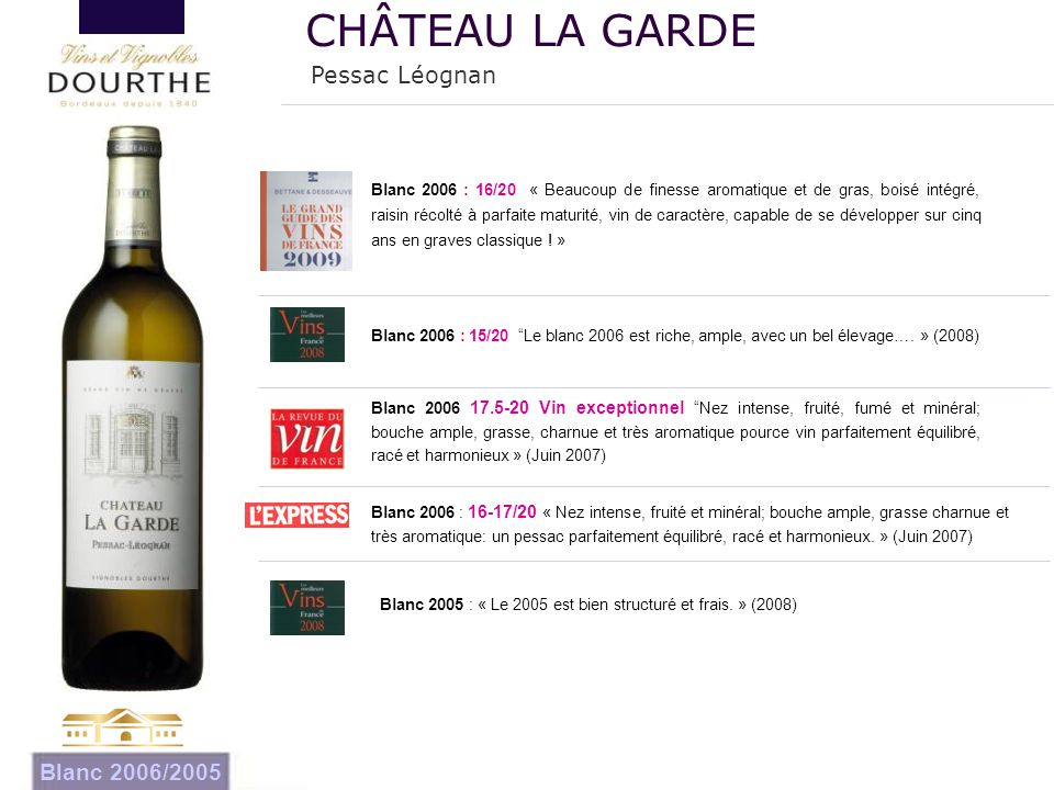 CHÂTEAU LA GARDE Pessac Léognan Blanc 2006/2005