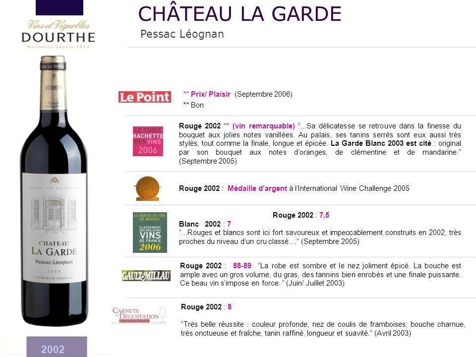 CHÂTEAU LA GARDE Pessac Léognan 2002 ** Prix/ Plaisir (Septembre 2006)