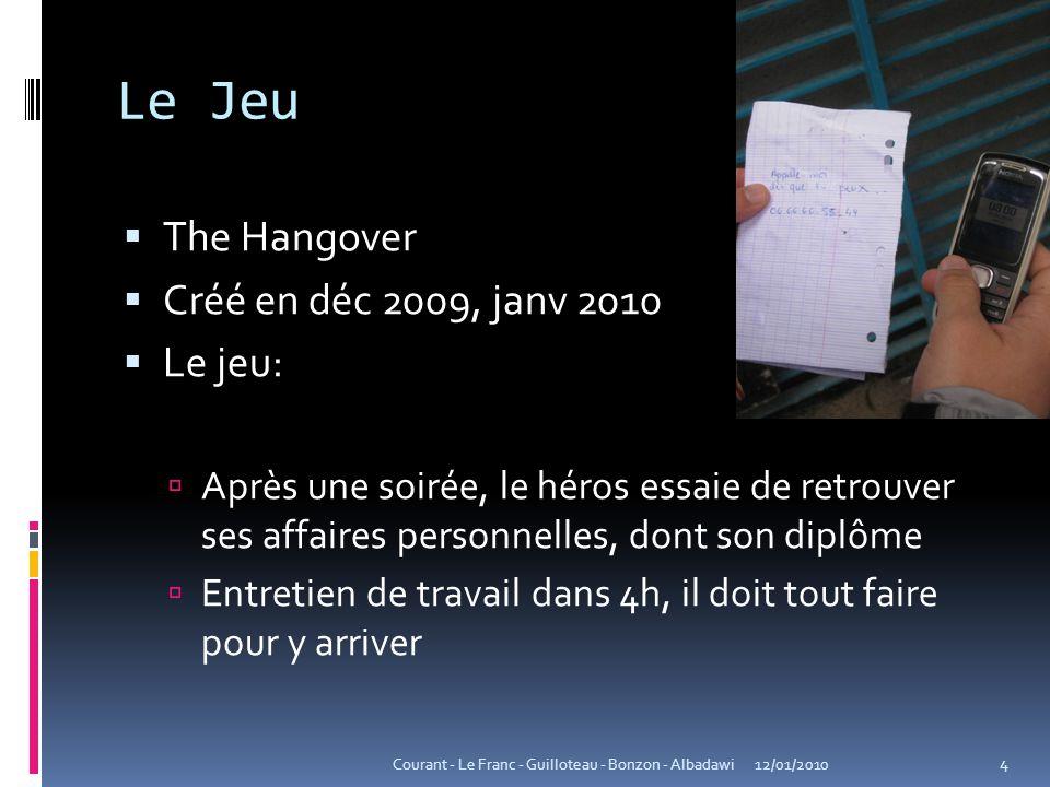 Le Jeu The Hangover Créé en déc 2009, janv 2010 Le jeu: