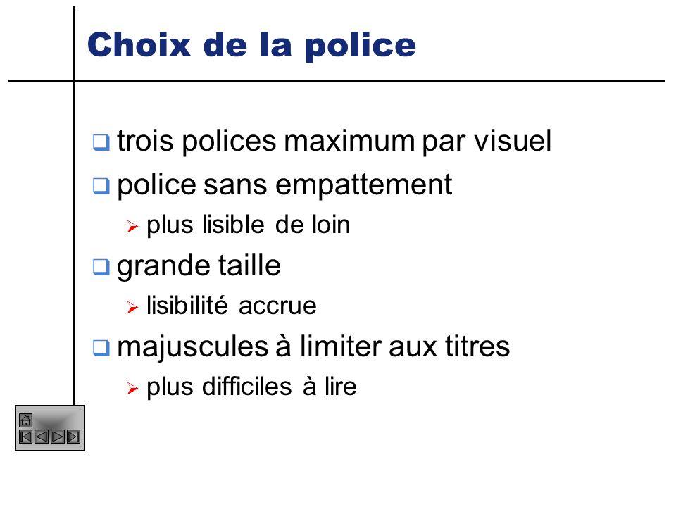Choix de la police trois polices maximum par visuel