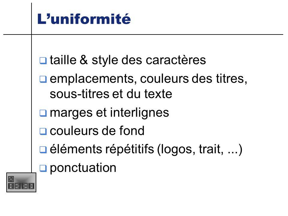 L'uniformité taille & style des caractères