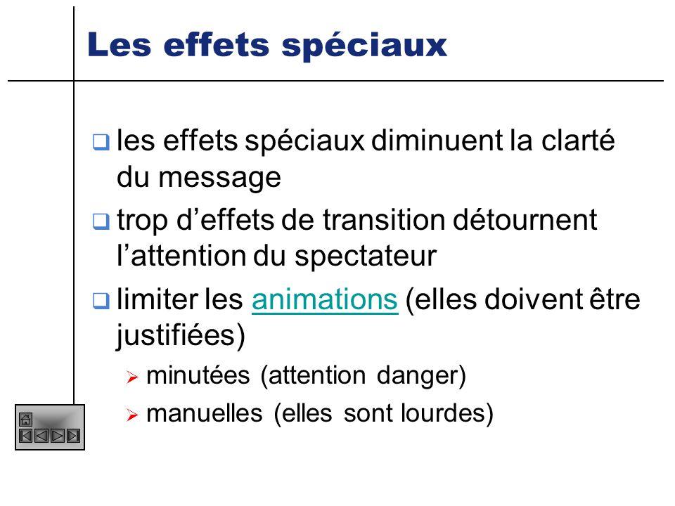 Les effets spéciaux les effets spéciaux diminuent la clarté du message