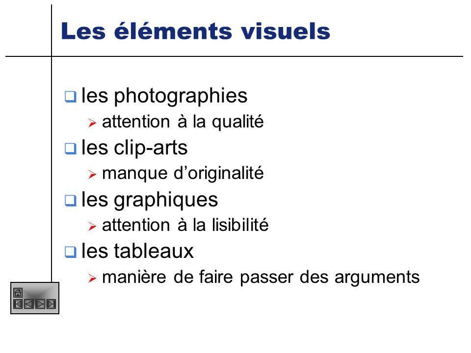Les éléments visuels les photographies les clip-arts les graphiques