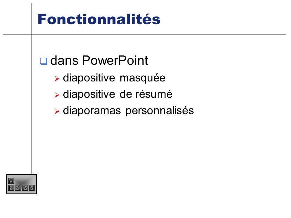 Fonctionnalités dans PowerPoint diapositive masquée
